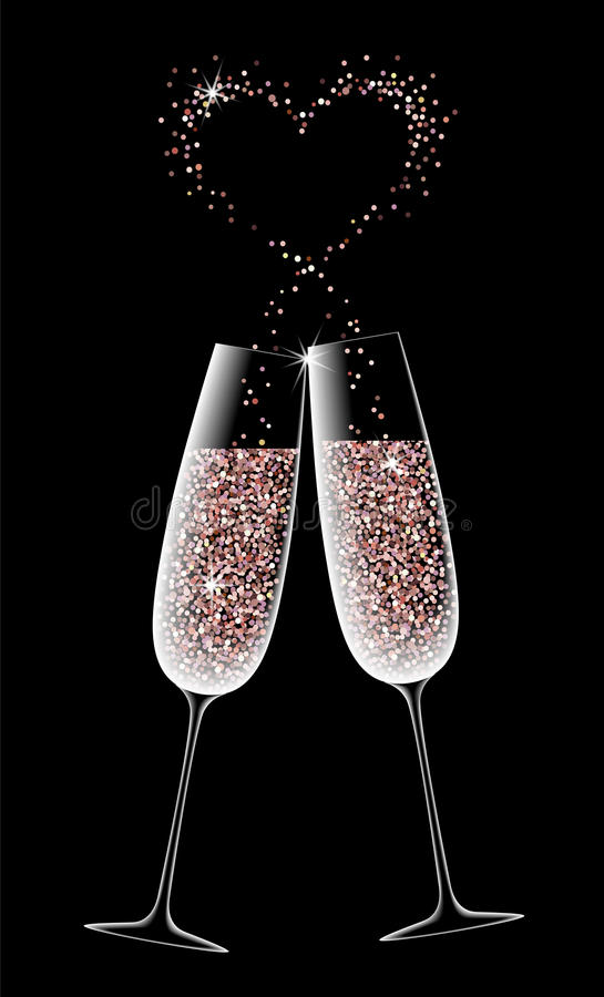 Due vetri di champagne scintillante su un fondo nero illustrazione di stock