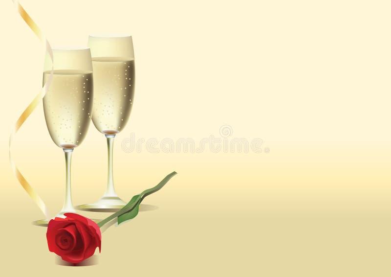 Due vetri di vino e sono aumentato illustrazione di stock