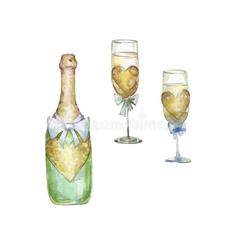 Due vetri e bottiglie del champagne illustrazione di stock