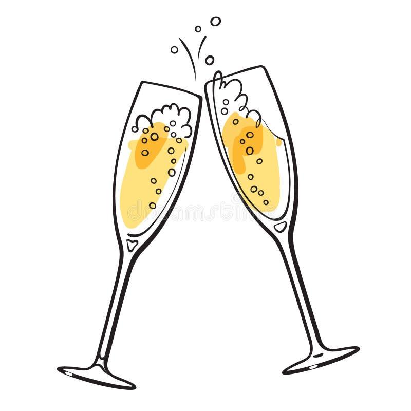 Due vetri scintillanti di champagne illustrazione vettoriale