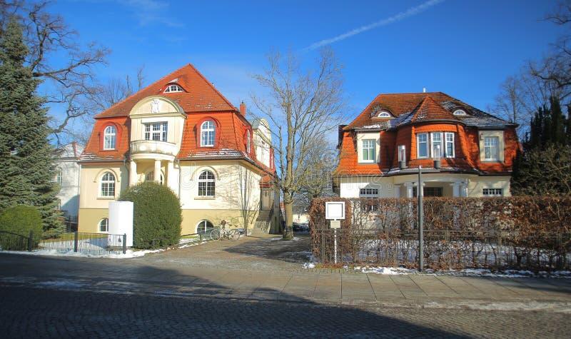 Due ville storiche, elencate come monumenti in Greifswald, la Germania fotografia stock libera da diritti