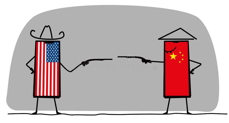 A duel between an American and a Chinese telephone. Pistol fight. Fun minimalistic graphics stock illustration