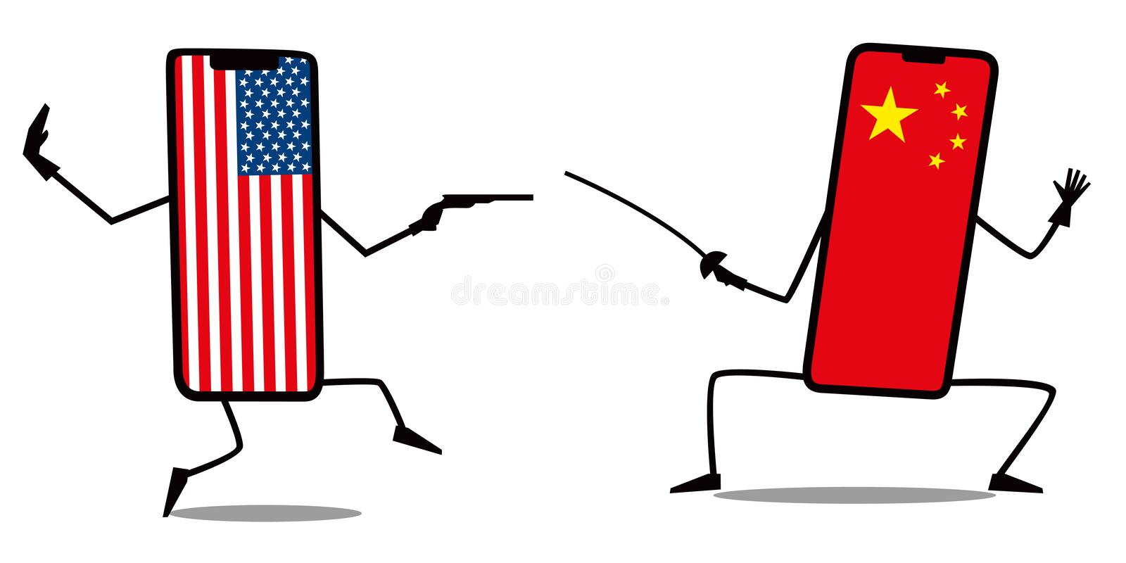 A duel between an American and a Chinese telephone. Pistol fights with a sword. Fun minimalistic graphics royalty free illustration