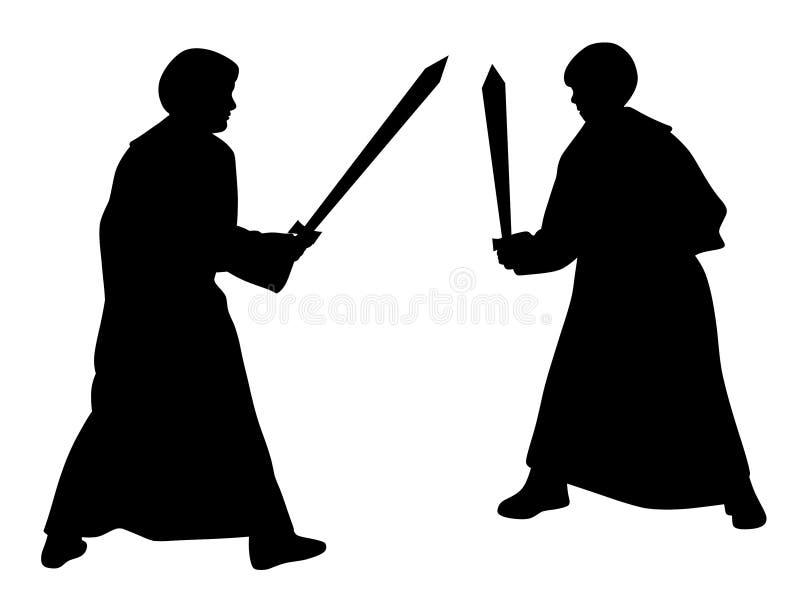 Duel de combat d'épée de deux enfants dans des costumes médiévaux de style illustration stock