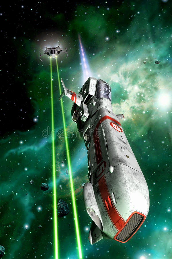 Duel de combattants de l'espace illustration stock