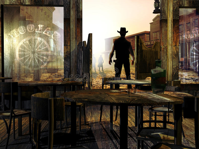 Duel at the saloons doors royalty free illustration