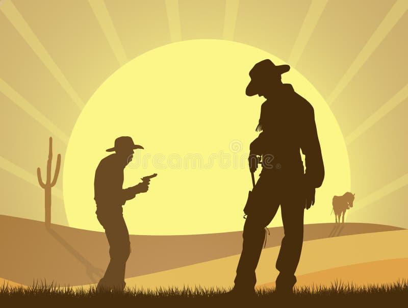 Duel van cowboy in de woestijn royalty-vrije illustratie