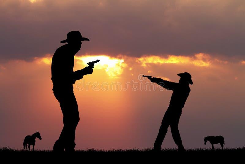 Duel van cowboymensen vector illustratie