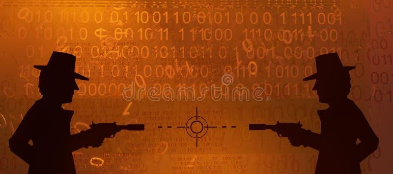Duel virtuel d'espion illustration libre de droits