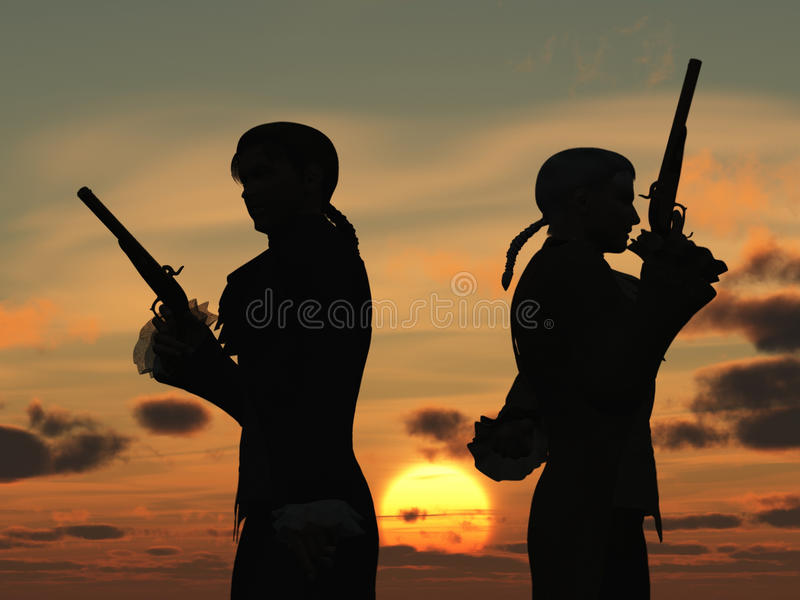 Duellists Silhouetted Against The Rising Sun Royalty Free Stock Photos