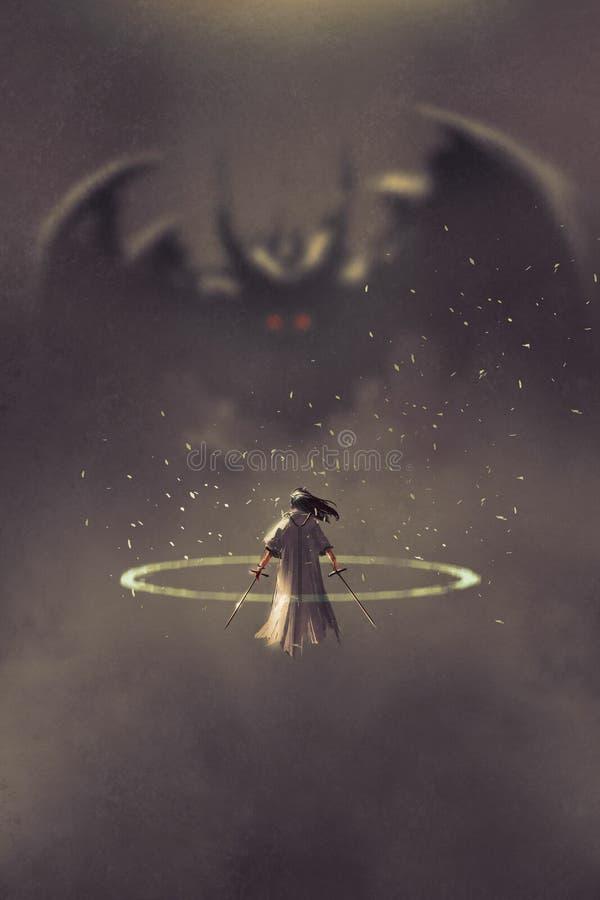 Duelo entre el caballero y el diablo libre illustration