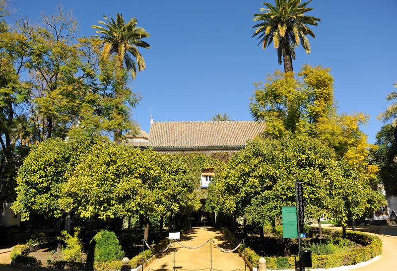 Duenas的宫殿庭院在塞维利亚,西班牙 免版税库存照片