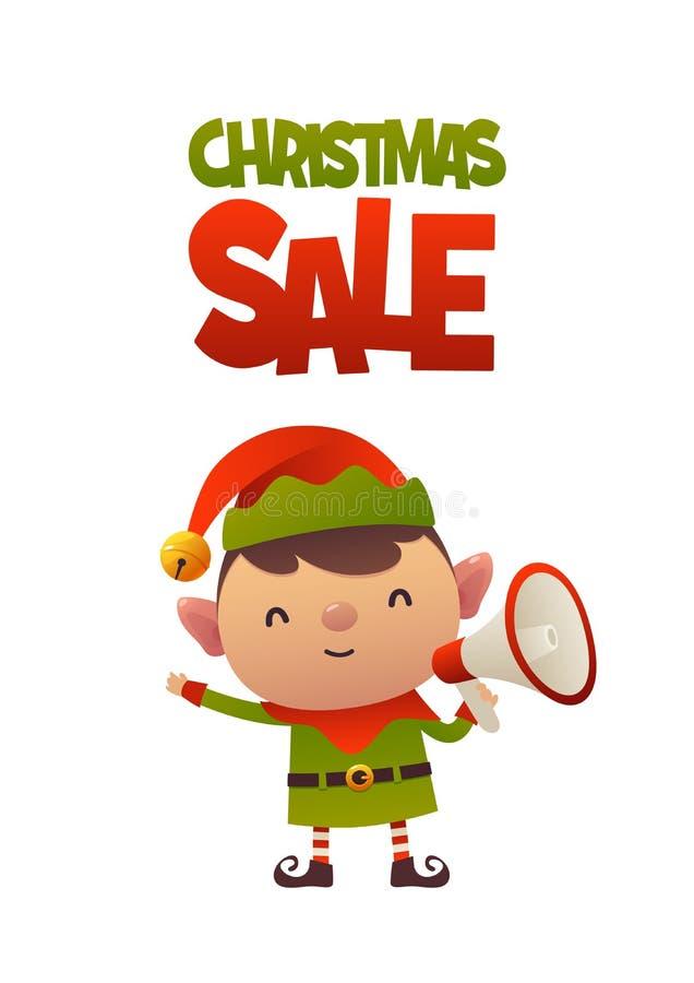 Duende bonito alegre dos desenhos animados com venda do Natal do megafone e do texto ilustração royalty free