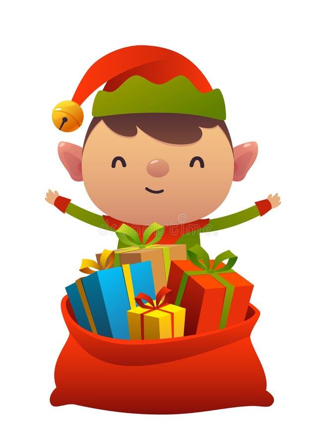 Duende bonito do Natal atrás do saco do brinquedo com os presentes no fundo branco ilustração royalty free