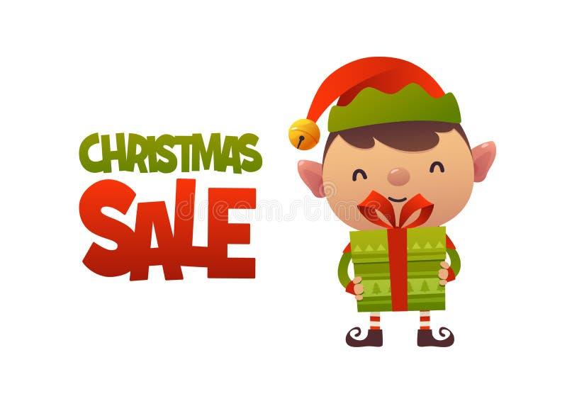 Duende bonito feliz dos desenhos animados com presente do presente e venda do Natal do texto ilustração stock