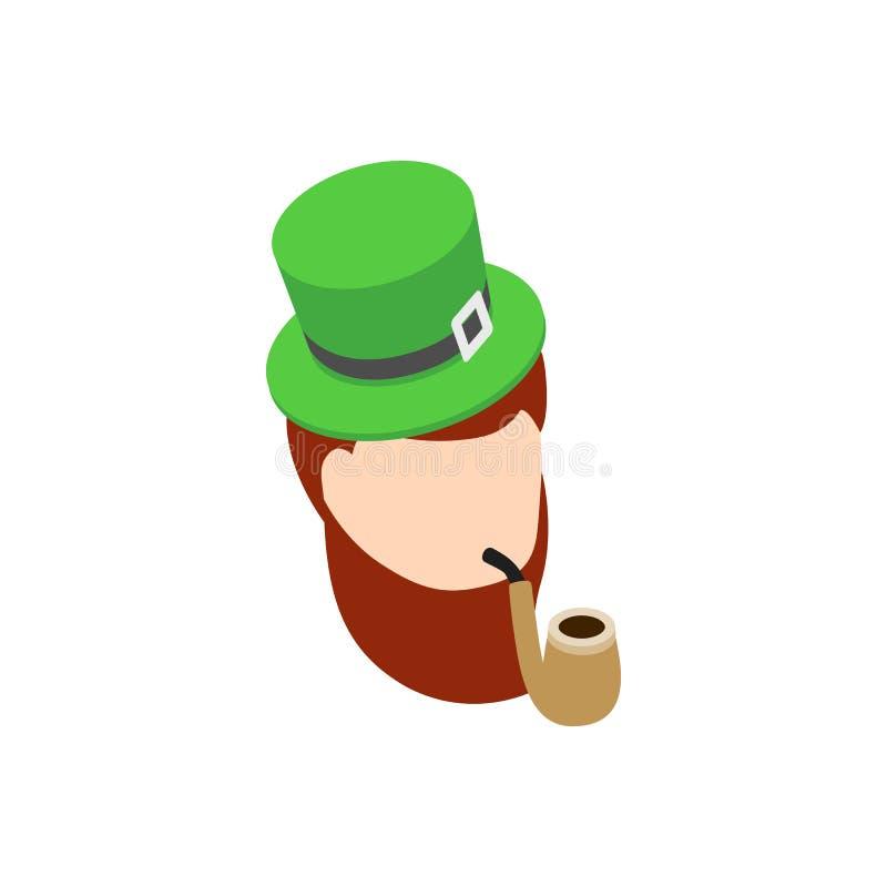 Duende com ícone verde da tubulação de fumo do chapéu ilustração royalty free