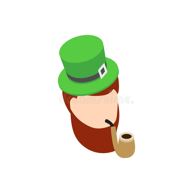 Duende com ícone verde da tubulação de fumo do chapéu ilustração do vetor