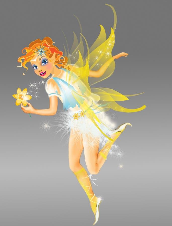 Duende com asas amarelas ilustração stock