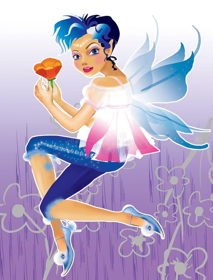Duende con el pelo azul stock de ilustración