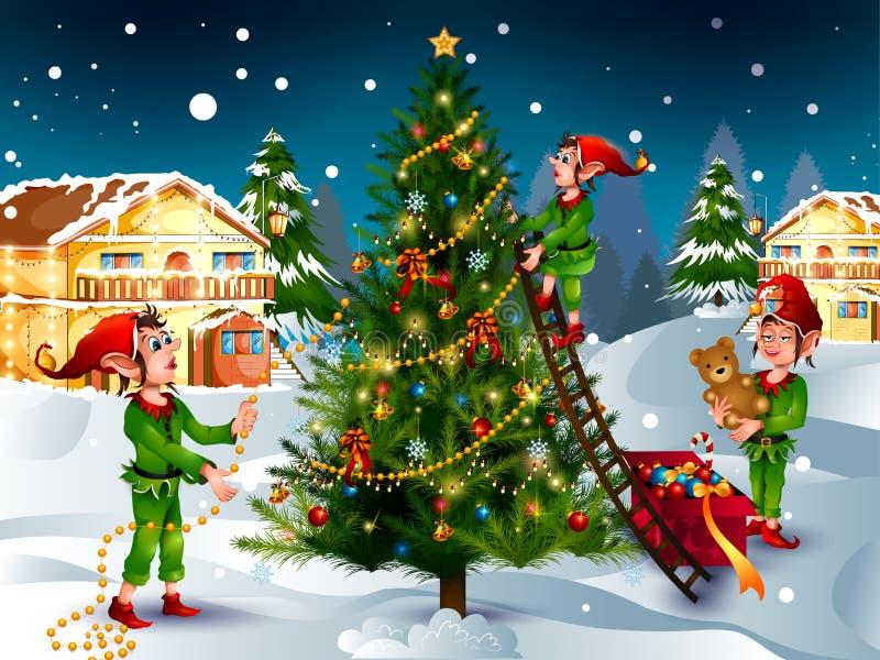 Duende con el regalo en el fondo del invierno para la celebración del día de fiesta de la Feliz Navidad ilustración del vector