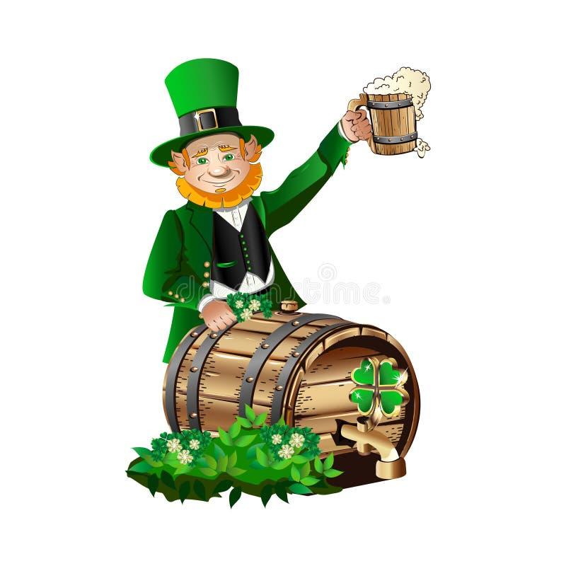 Duende con un barril y una taza de cerveza stock de ilustración