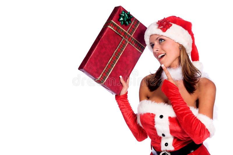 Duende curioso de Santa imagens de stock royalty free