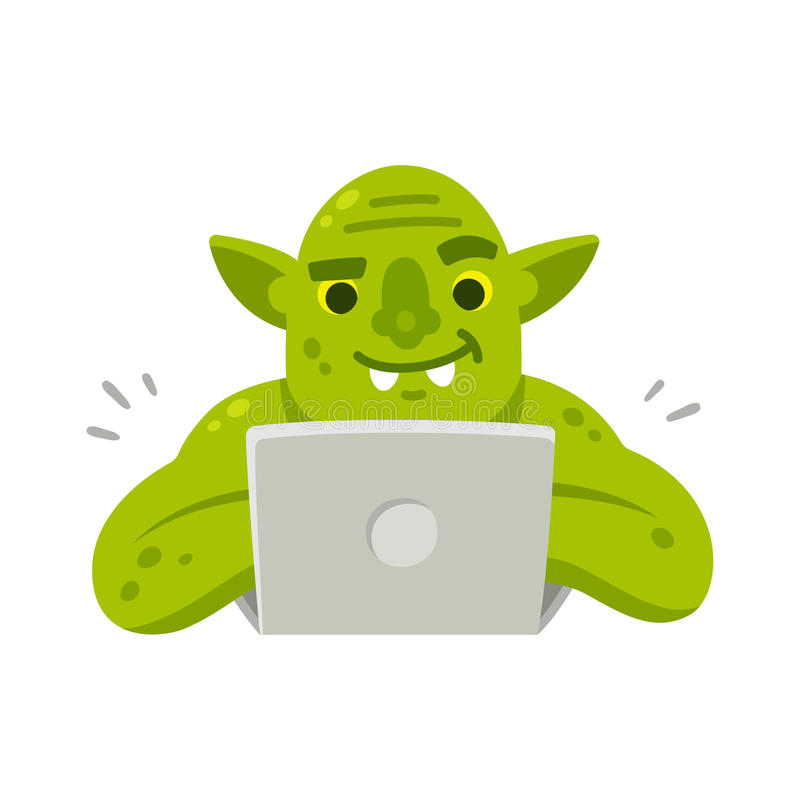 Duende de Internet con el ordenador portátil ilustración del vector