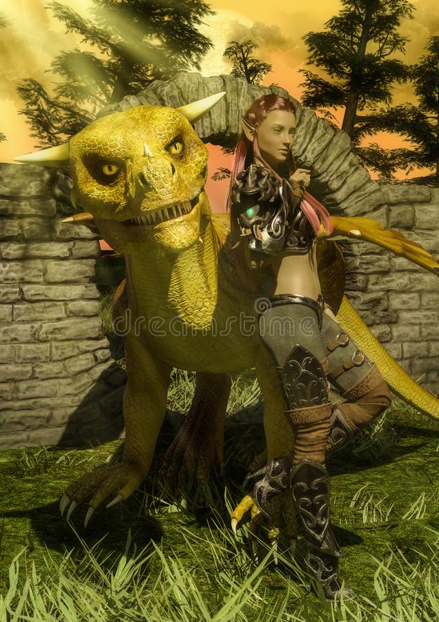 Duende de la fantasía con un dragón de oro en un prado libre illustration