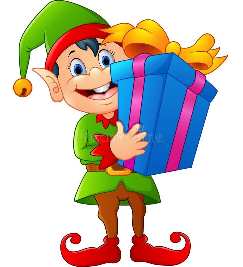 Duende de la historieta que sostiene la caja de regalo stock de ilustración