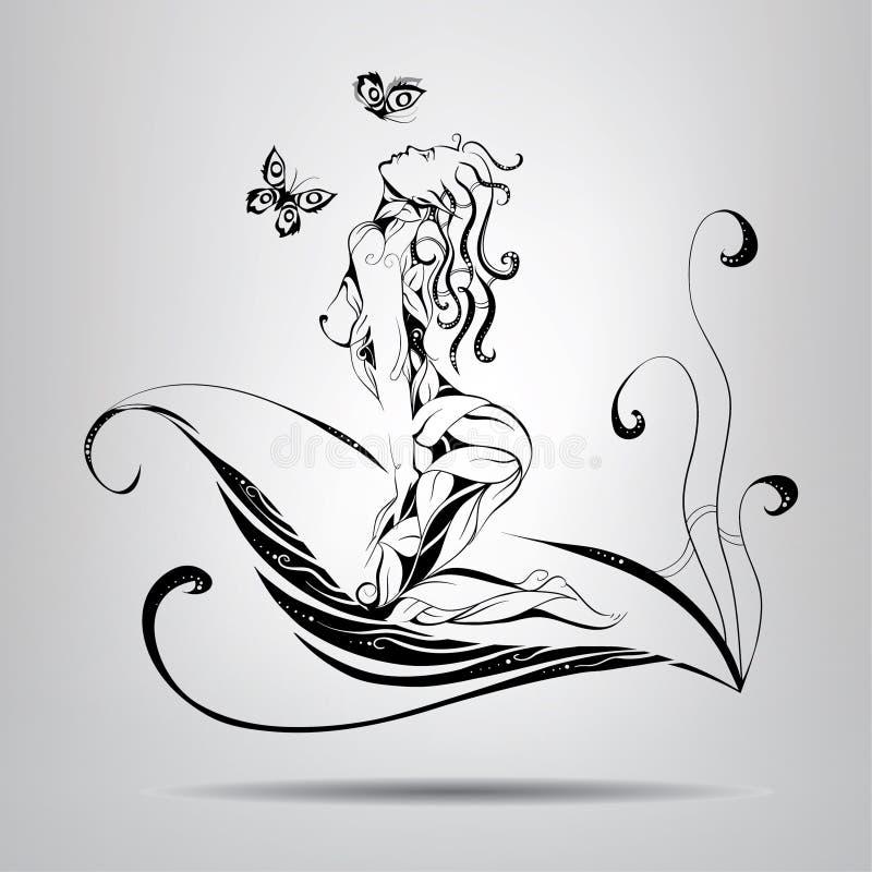 Duende de la muchacha que se sienta en las hojas stock de ilustración