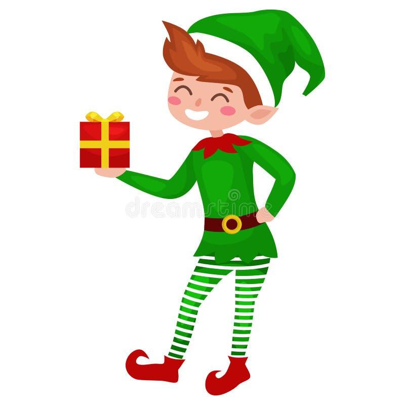 Duende de la Navidad aislado con los regalos en la caja en un traje verde, ayudante de Santa Claus libre illustration