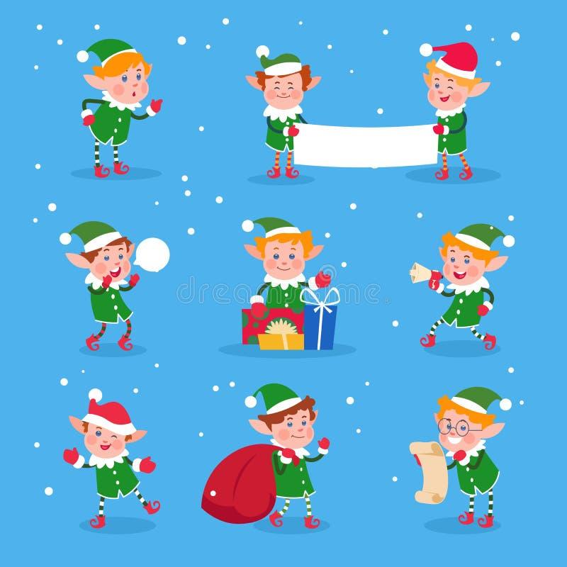 Duende de la Navidad Ayudantes de Papá Noel de los duendes del bebé Caracteres divertidos del vector del enano del invierno stock de ilustración