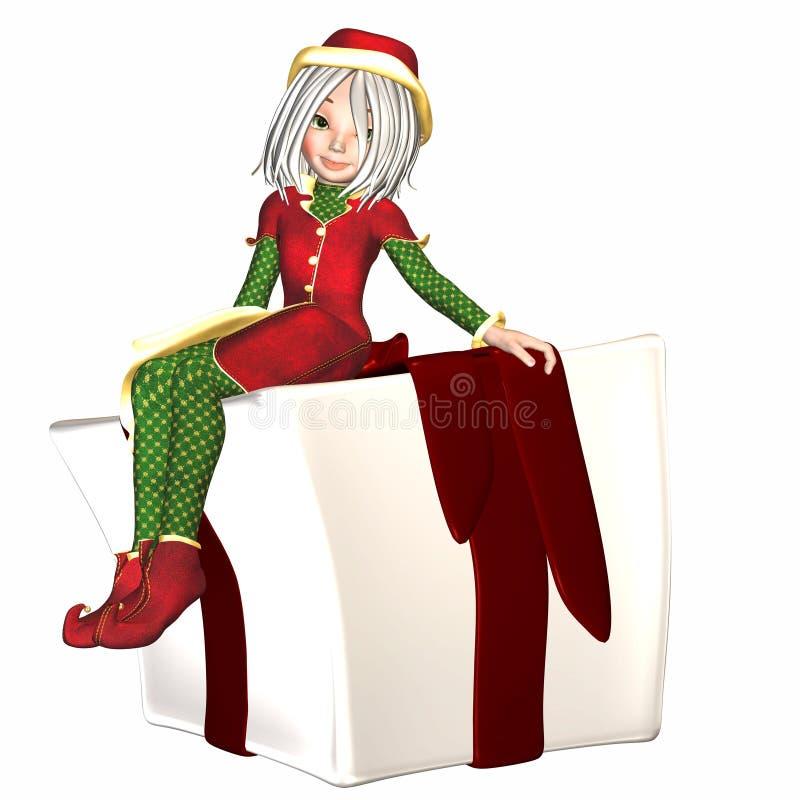Duende de la Navidad con el presente libre illustration