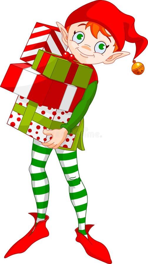 Duende de la Navidad con los regalos stock de ilustración