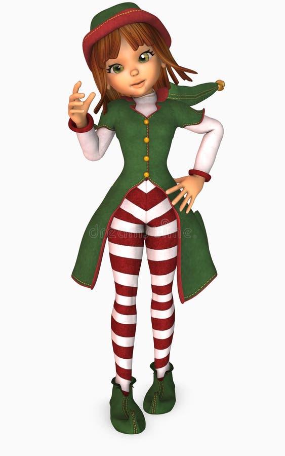 duende de la Navidad de la muchacha de Toon ilustración del vector