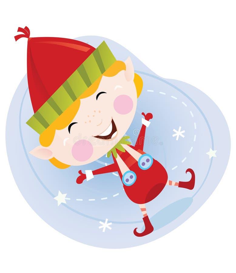 Duende de la Navidad de Santa en traje rojo stock de ilustración