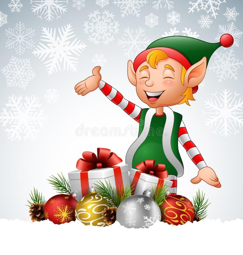 Duende de la Navidad de la historieta con las cajas y las bolas de regalo en nieve stock de ilustración