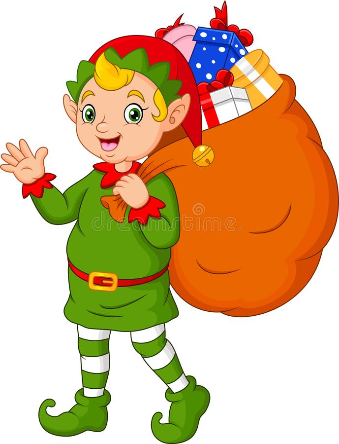 Duende de la Navidad de la historieta que lleva un saco de regalos libre illustration