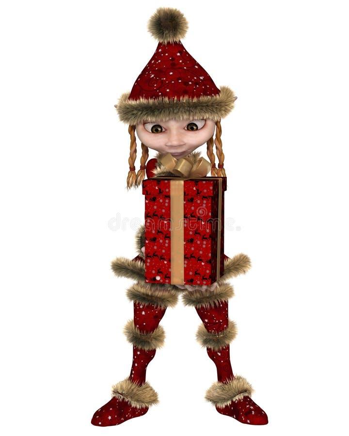 Duende de la Navidad o muchacha del Imp que lleva un regalo ilustración del vector