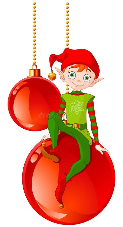 Duende de la Navidad que se sienta en bola libre illustration