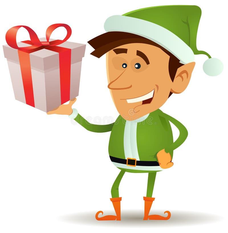 Duende de la Navidad que sostiene el regalo stock de ilustración