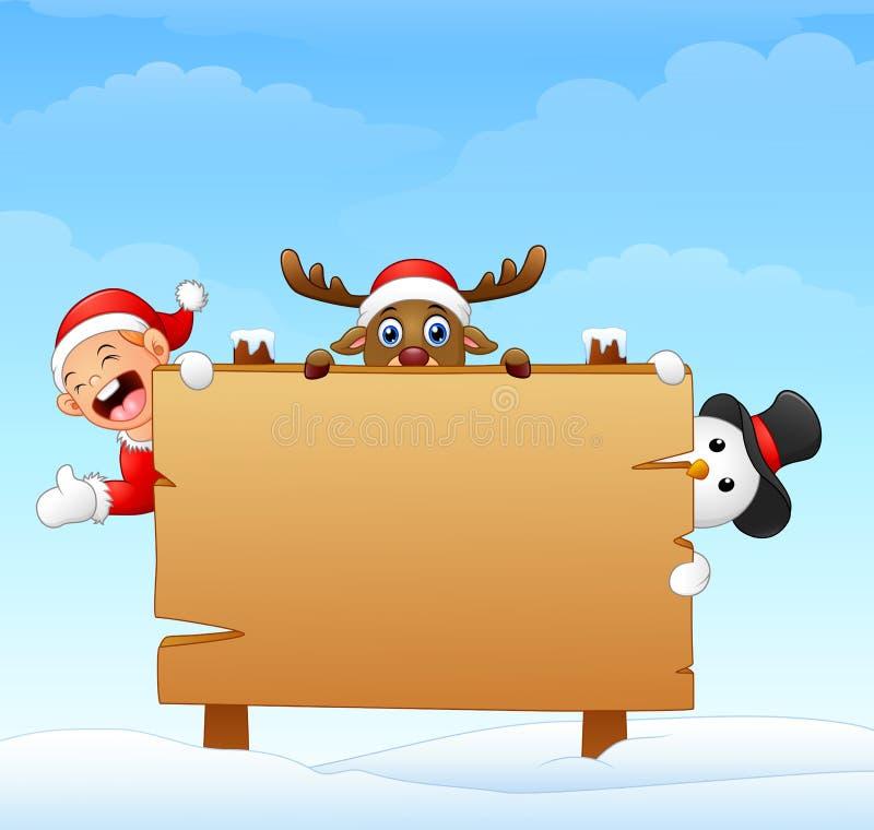 Duende de la Navidad y muñeco de nieve y reno con la muestra de madera en blanco libre illustration