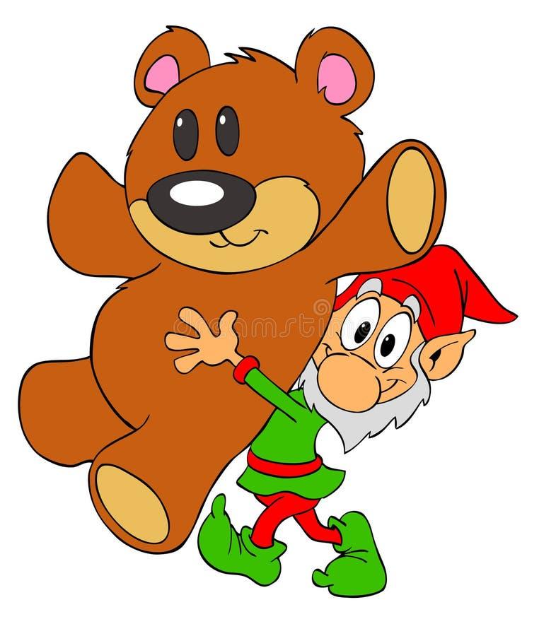 Duende de la Navidad y oso del peluche stock de ilustración