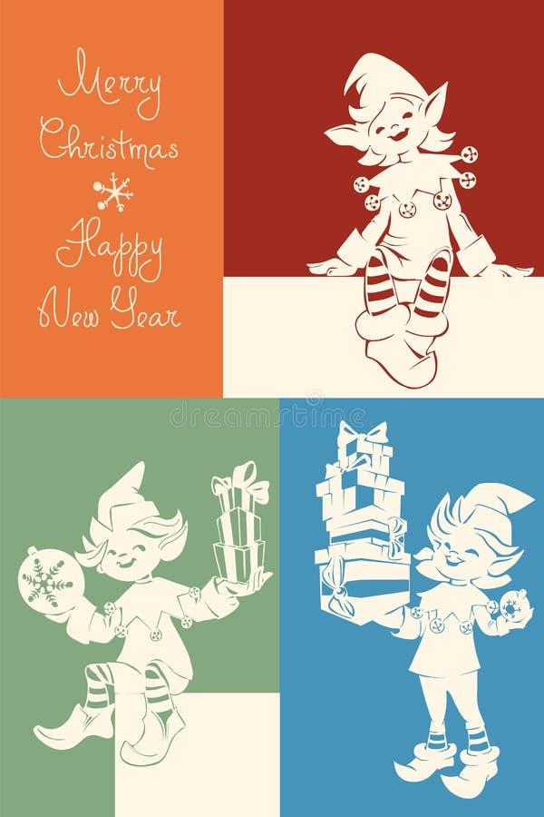 Duende de Papá Noel en la tarjeta de Navidad, bunner, poniendo letras imágenes de archivo libres de regalías