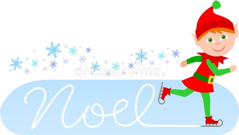 Duende de patinagem de Noel ilustração stock