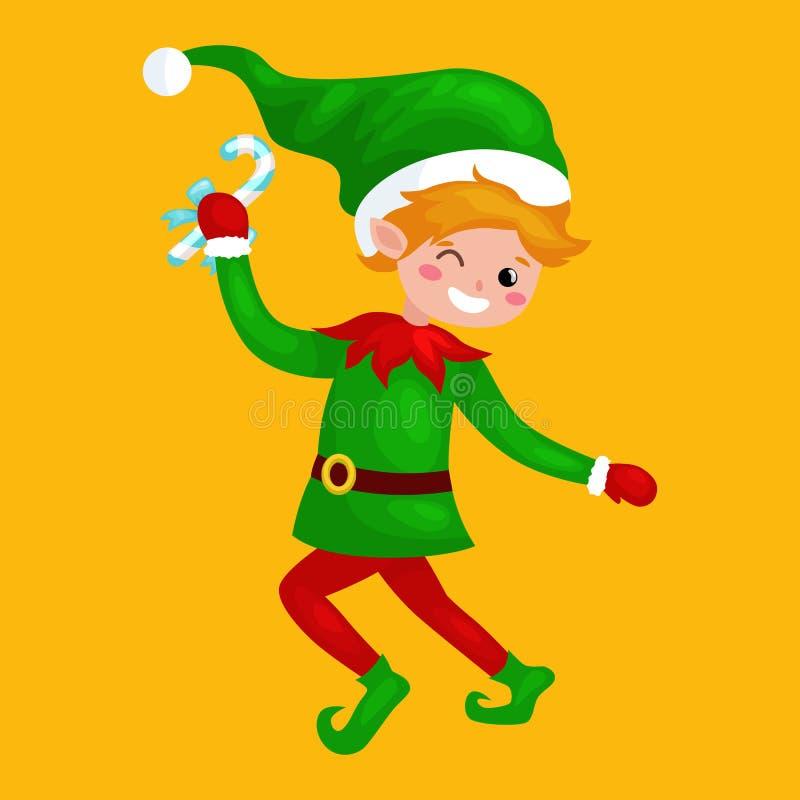 Duende de salto de la Navidad aislado con los dulces en un traje verde con, ayudante de Santa Claus, ayudante del muchacho que so stock de ilustración