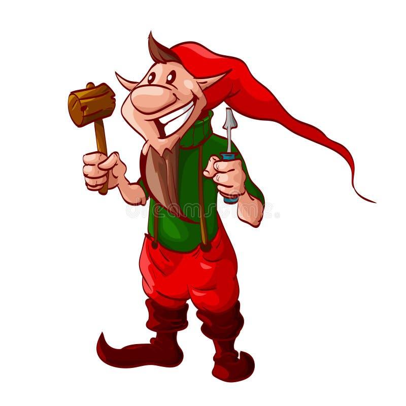 Duende de sorriso do Natal dos desenhos animados ou um anão ilustração do vetor