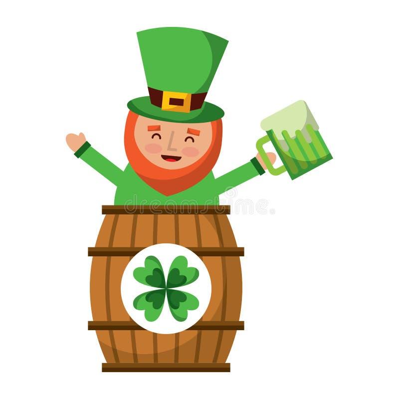 Duende del día de los patricks del St dentro en un barril con una pinta de cerveza en su mano ilustración del vector