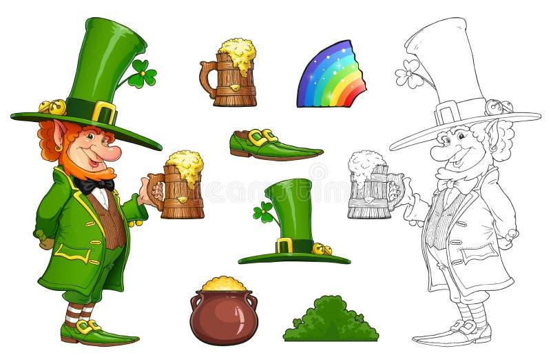 Duende do gnomo com a caneca de cerveja Caráter irlandês do conto de fadas Ilustração do vetor ilustração royalty free