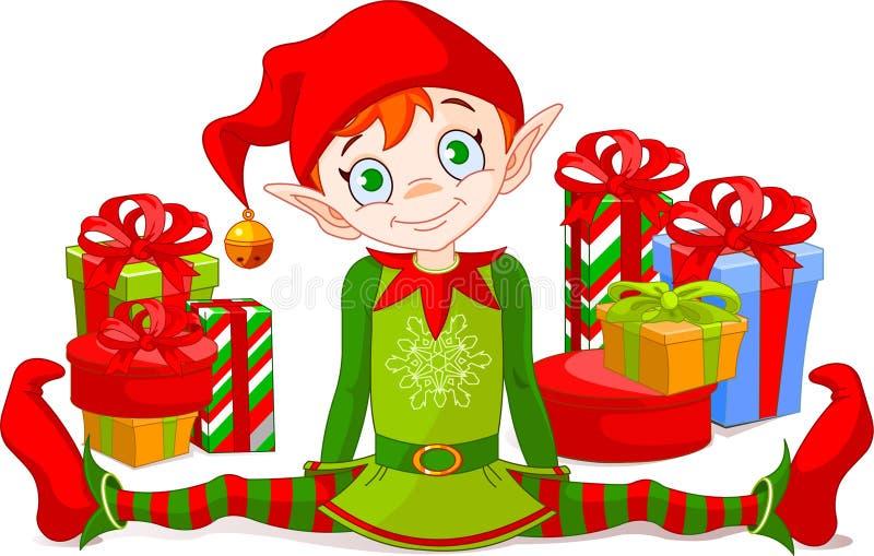 Duende do Natal com presentes ilustração royalty free